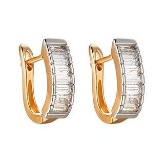 14k Gold Tone Hoop Earrings Lab Diamonds 15mm Huggies Womens Ladies