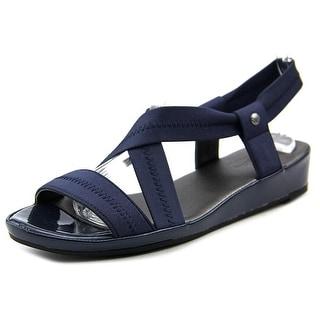 Life Stride Debutante Women W Open Toe Canvas Blue Wedge Sandal