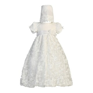 Baby Girls White Embroidered Satin Ribbon Tulle Dress Bonnet Baptism 0-18M