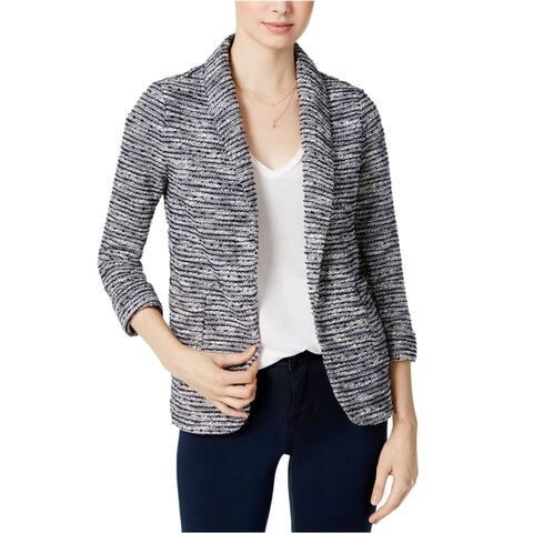 maison Jules Womens Textured Blazer Jacket, Blue, X-Small