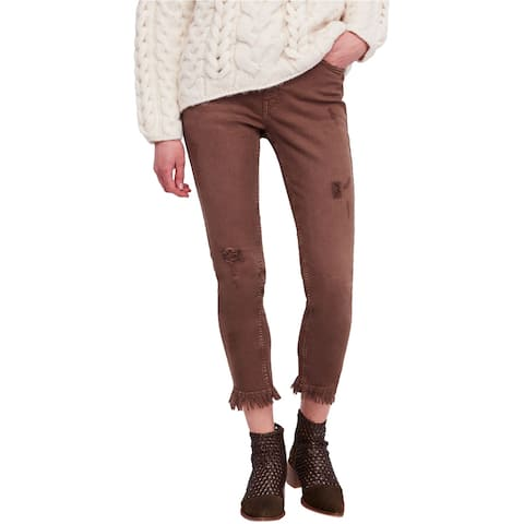 Free People Womens Distressed Skinny Fit Jeans