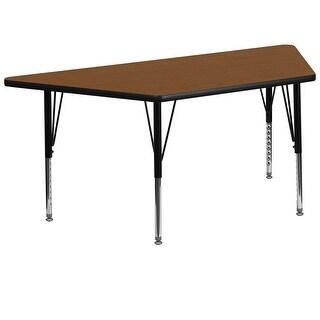 Fun & Games Activity Table 30''W x 60''L Trapezoid Oak High Pressure Laminate Adj Short Legs