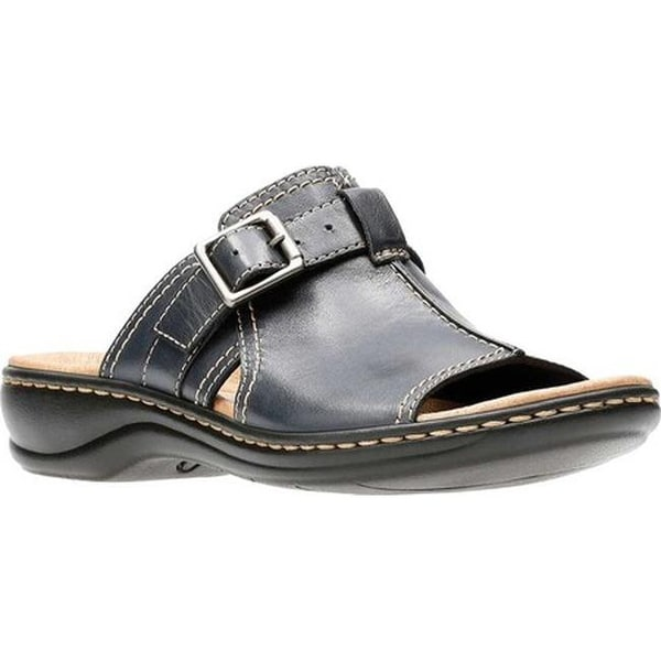 15643bdd15d3 Shop Clarks Women s Leisa Gianna Slide Navy Leather - On Sale - Free ...