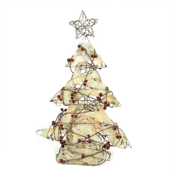 "22"" Pre-Lit Burlap and Berry Rattan Christmas Tree Table Top Decoration"