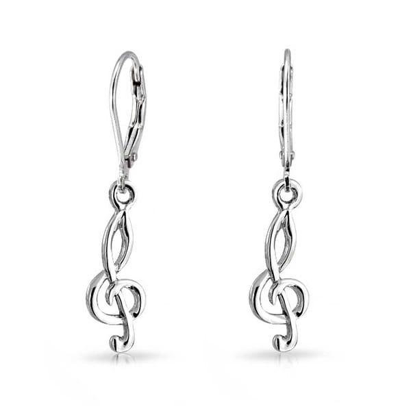 Bling Jewelry Treble G Clef Musical Note Sterling Silver Dangle Earrings