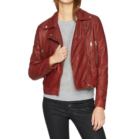 William Rast Womens Leather Jacket Brown Size Small S Metal Zippers