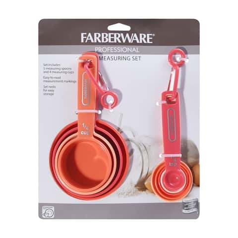 Farberware Measuring Cups and Spoons Set, 9 Piece - Coral Ombre - Coral Ombre