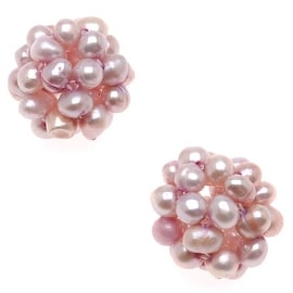 Mauve Cultured Seed Pearls Woven Ball Focal Beads 14mm (2)
