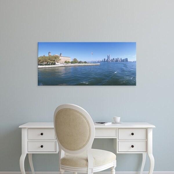 Easy Art Prints Panoramic Images's 'Ellis Island, Manhattan Skyline, New York' Premium Canvas Art