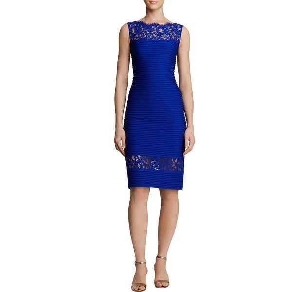 Tadashi Shoji Womens Cocktail Dress Lace-Trim Sleeveless