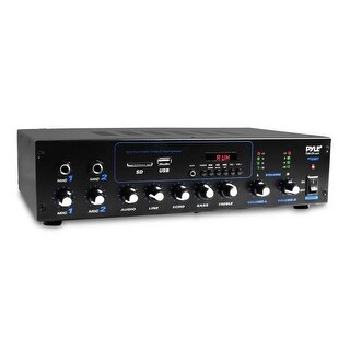 Audio Powered Amplifier & Bluetooth Receiver Stereo System, FM Radio, Microphone Inputs, MP3/USB/SD/AUX Playback, 600 Watt