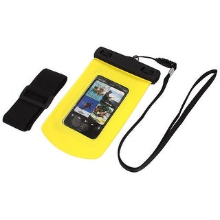 Unique Bargains Waterproof Bag Case Holder Protector Yellow for iPhone 4G w Armband Strap