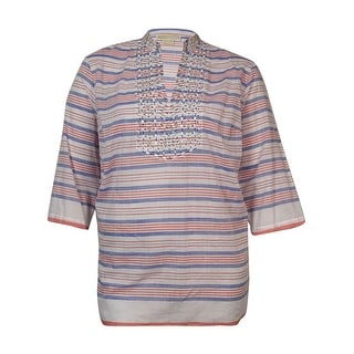 MICHAEL Michael Kors Women's Beaded Striped Cotton Tunic - royal/clementine