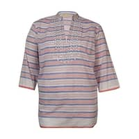 MICHAEL Michael Kors Women's Beaded Striped Cotton Tunic - royal/clementine - 1x