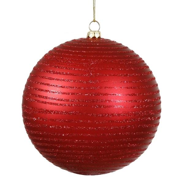 "Red Hot Glitter Striped Shatterproof Christmas Ball Ornament 4.75"" (120mm)"