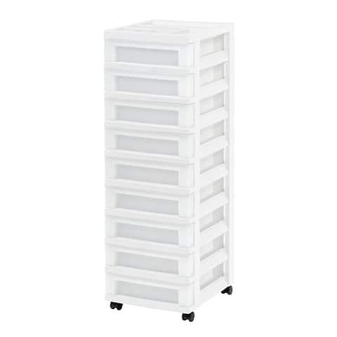 9-Drawer Storage Cart White/Pearl