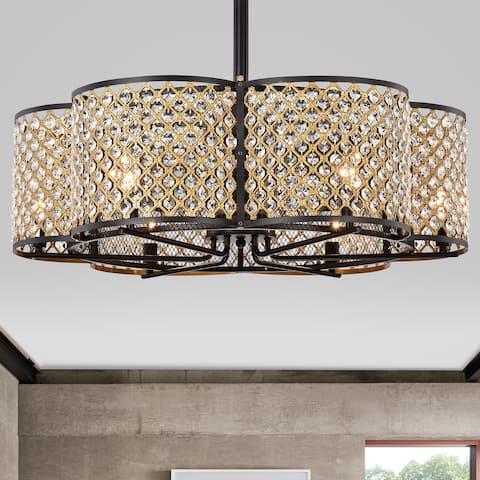 Gracewood Hollow Kakutani 30-inch 6-light Matte Black/Goldtone Crystal Lighted Ceiling Fan
