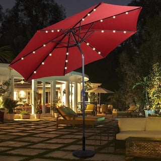 Link to Costway 10ft Patio Solar Umbrella LED Patio Market Steel Tilt W/ Crank Similar Items in Patio Umbrellas & Shades