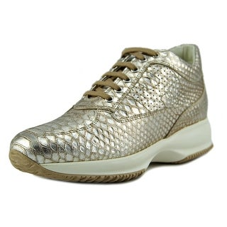 Hogan Interactive H Bucata Women Round Toe Leather Gold Sneakers
