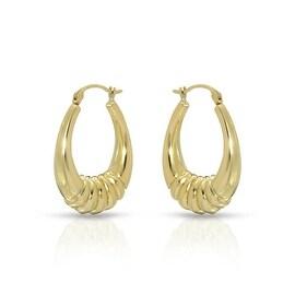 "MCS JEWELRY INC 14 KARAT YELLOW GOLD HOOP EARRINGS WITH DESIGN (1.2"" DIAMETER)"