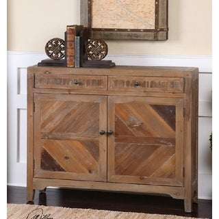 "42"" Eco-Friendly Distressed Gray Washed Fir Vintage Style Wooden Console Cabinet"