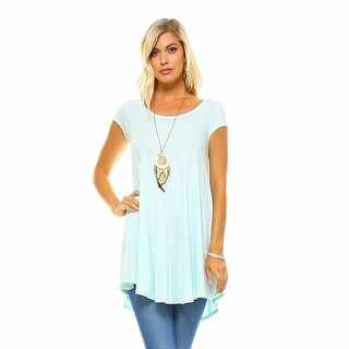 Isaac Liev Women's Flowy V-Neck Short Sleeve Tunic Top