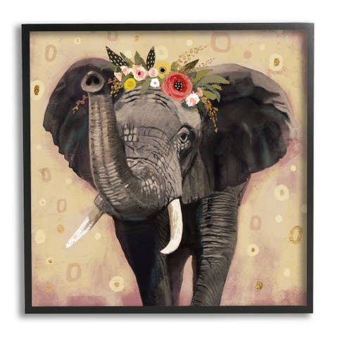 Stupell Industries Elephant Raising Trunk Portrait Floral Crown Abstract Pattern Framed Wall Art