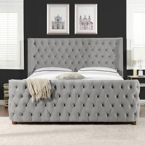 Brooklyn Tall Tufted Wingback Shelter Headboard and Footboard Panel Bed Frame