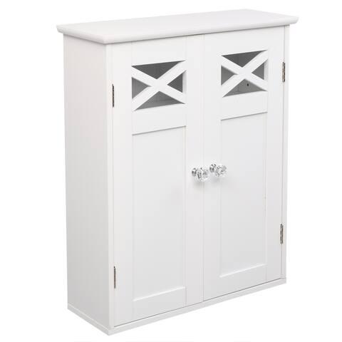Double Door Fork Type Bathroom Wall Cabinet White - Double Door