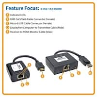 Tripp-Lite Accessory B150-1A1-HDMI 150ft DisplayPort to HDMI Over Cat5/6 Active Extender Kit Retail