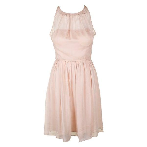 51827501627 Shop Adrinna Papell Blush Sleeveless Chiffon Halter Cocktail Dress 4 ...