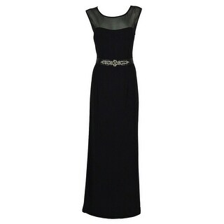 Betsy & Adam Women's Belted Illusion Gown - Black