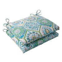 Set of 2 Psychedelic Blue Outdoor Patio Squared Seat Cushions 18.5""