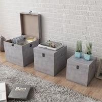 vidaXL Storage Box Concrete 3 pcs Square Gray MDF - grey