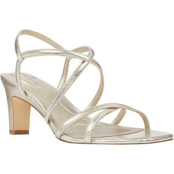 c5564a7b9832 Bandolino Women  x27 s Obexx Strappy Sandal Platino Metallic Lizard  Synthetic