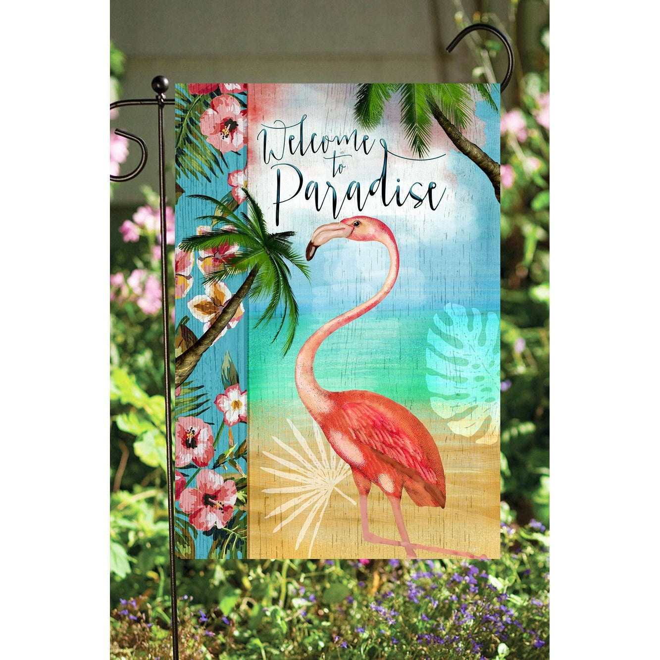 Warm And Vibrant Welcome To Paradise Decorative Rectangular Garden Flag 18 X 12 Overstock 32211261