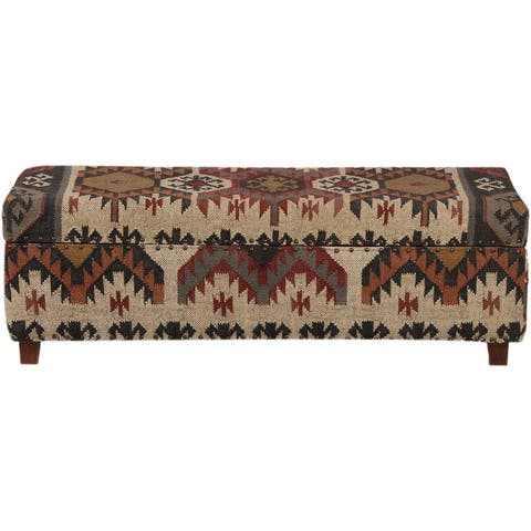 "Handmade Kilim Upholstered Wooden Storage Bench - 48""x16""x16"""