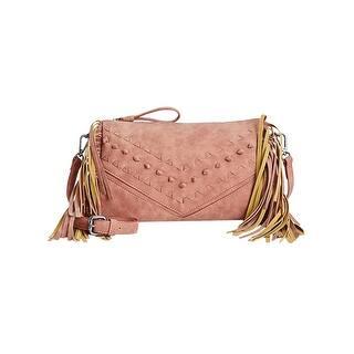 Danielle Nicole Womens Cara Crossbody Handbag Faux Leather Fringe Medium