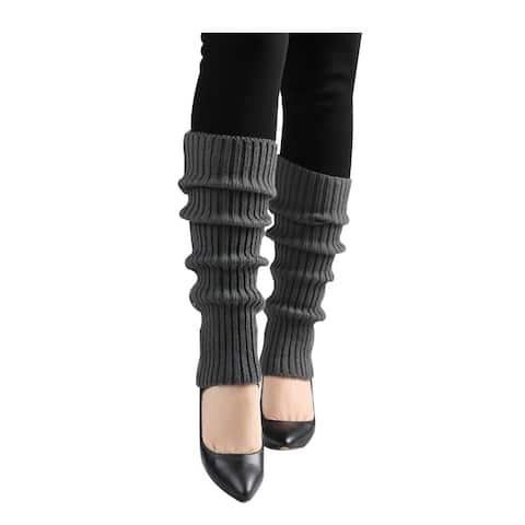 Women Ribbed Toeless Stretchy Knitting Long Leg Warmers - Dark Gray