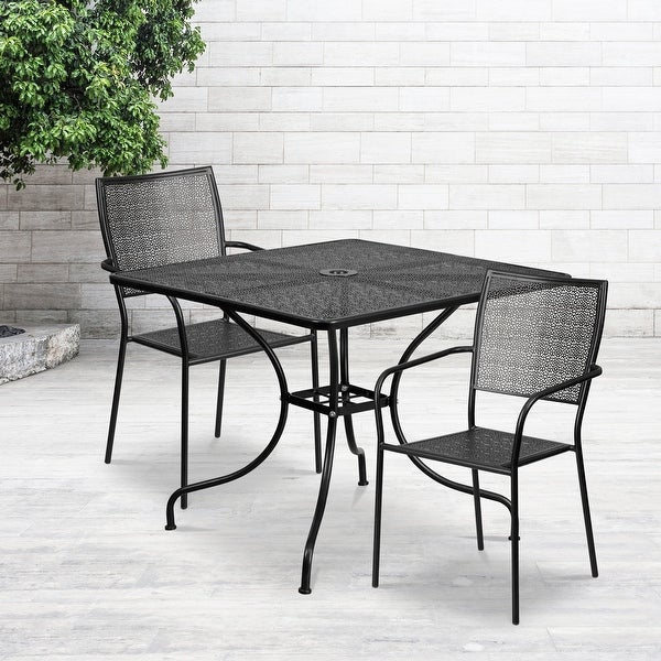 "35.5"" Square Black Indoor-Outdoor Steel Patio Table Set w/ 2 Square Back Chairs. Opens flyout."