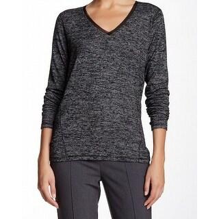 T Tahari NEW Gray Womens Size Small S Suella Space-Dye V-Neck Sweater