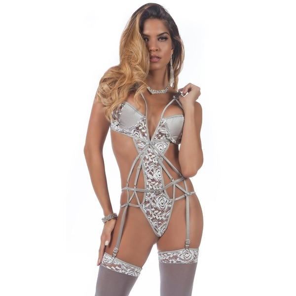 389892652 Shop Strappy Chantilly Teddy And Stockings
