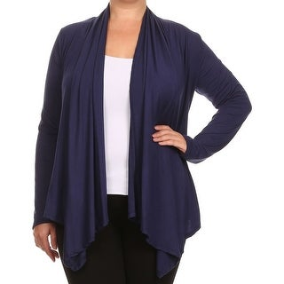 Women Plus Size Long Sleeve Jacket Casual Cover Up Navy