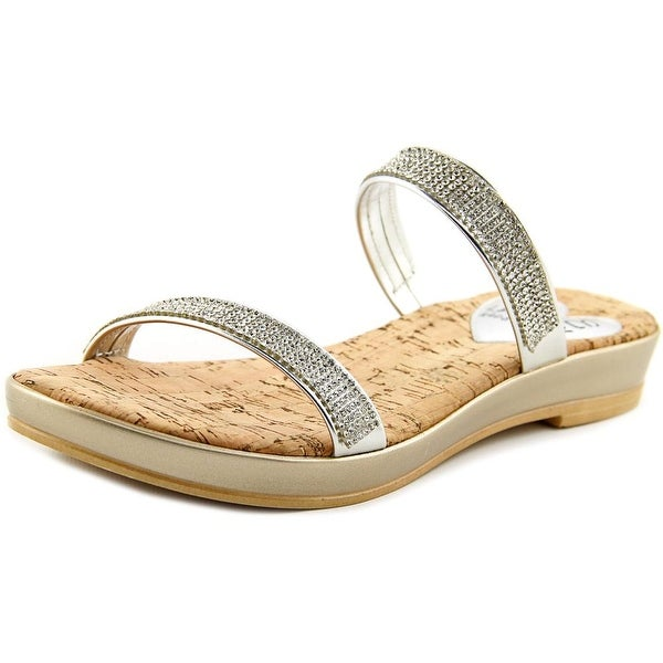 Love and Liberty Desiree Women Open Toe Synthetic Silver Slides Sandal