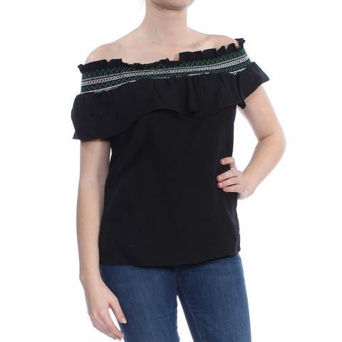 CECE Womens Black Embroidered Off The Shoulder Short Sleeve Off Shoulder Top Size: M