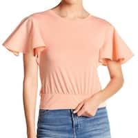 Abound Orange Womens Size XXS Flutter Sleeve Banded Hem Knit Top