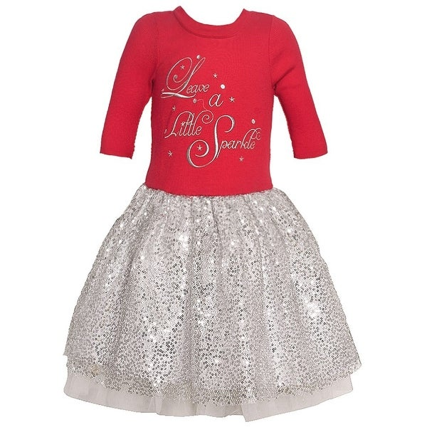 e4b373022bf3 Shop Bonnie Jean Little Girls Red Sequin Shiny Tutu 3/4 Sleeve Holiday Dress  - Free Shipping On Orders Over $45 - Overstock - 19294377