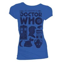 Doctor Who: Tenth Doctor Vector Icons Distressed Junior's Royal Blue T-Shirt