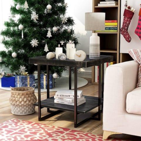 Furniture of America Alivia Rustic Black 24-inch 1-shelf Side Table