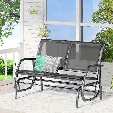 Outsunny 2-Person Outdoor Glider Bench Double Rocking Chair Loveseat w/ Armrest for Patio Garden Yard Porch Black